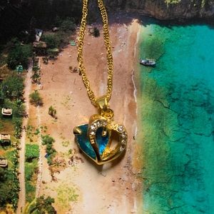 Gold Chain Crystal Blue Heart Necklace